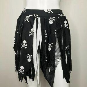 Handmade Black Skull Fringe Skirt Small Medium